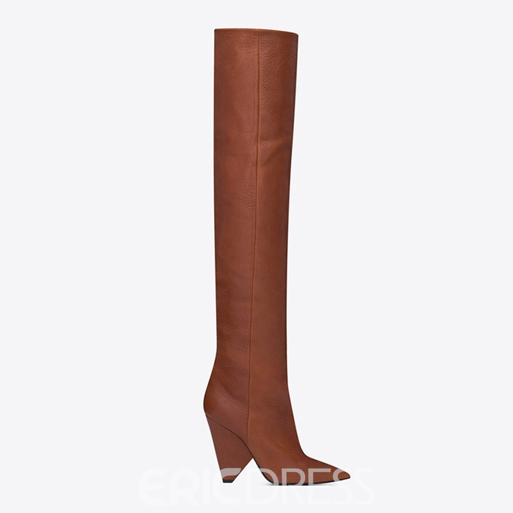 Ericdress Plain Pointed Toe Slip-On Western Knee High Boots