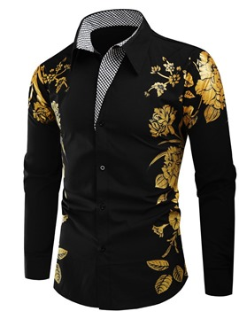 Ericdress African Dashiki Color Block Lapel Button Slim Single-Breasted Shirt