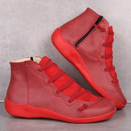 Ericdress Color Block Side Zipper Round Toe Lace-Up Boots