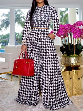 Ericdress Pocket Houndstooth T-Shirt Wide Legs Pullover Two Piece Sets