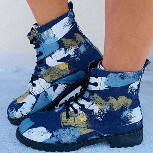 Ericdress Lace-Up Front Color Block Round Toe Thread Boots