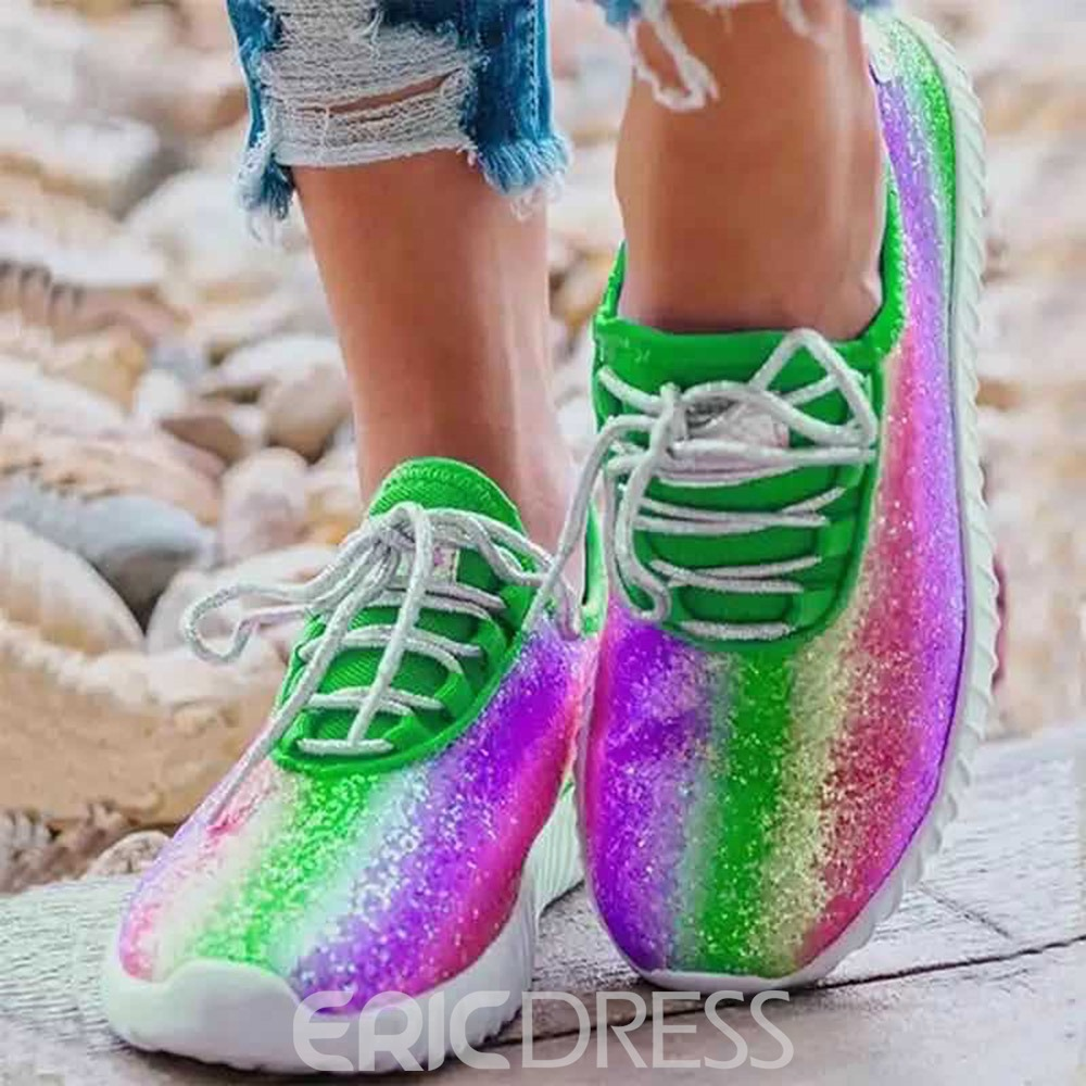 Ericdress Round Toe Lace-Up Lace-Up PU Sneakers