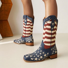 Ericdress Square Toe Color Block Slip-On Flag Boots
