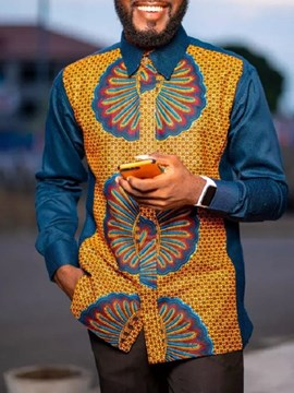 Ericdress African Ethnic Style Lapel Button Single-Breasted Slim Shirt