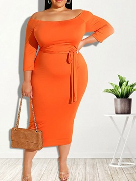 Ericdress Mid-Calf Three-Quarter Sleeve Lace-Up Pullover Bodycon Dress