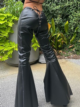 Ericdress Casual Slim Lace-Up Plain Bellbottoms Full Length Pants