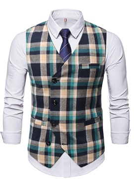 Ericdress Button Plaid V-Neck Single-Breasted OL Waistcoat