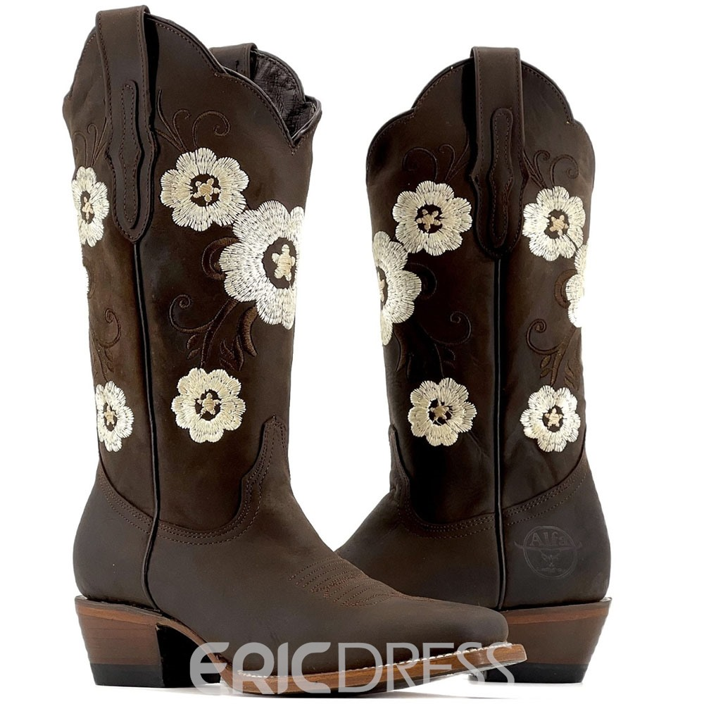 Ericdress Vintage Square Toe Block Heel Floral Embroidery Boots