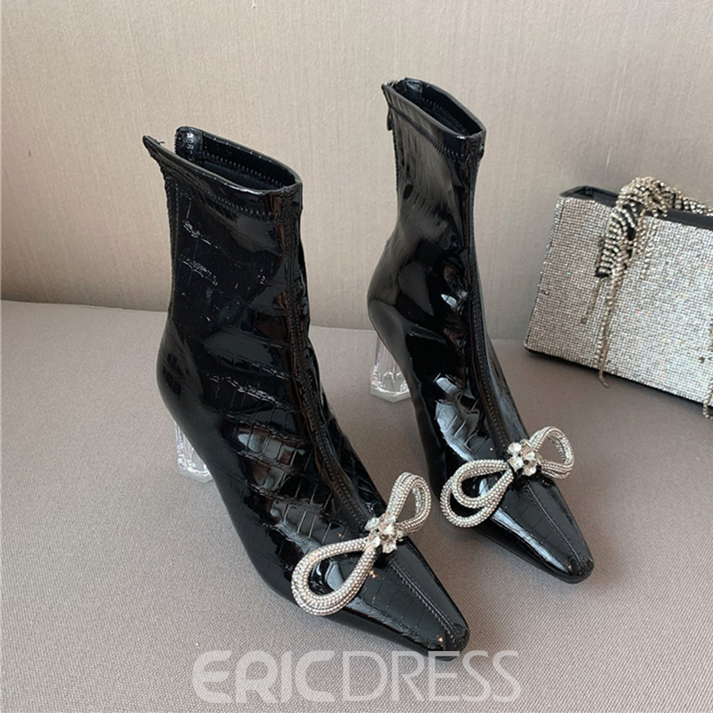 Ericdress Back Zip Chunky Heel Pointed Toe Bow Ankle Boots