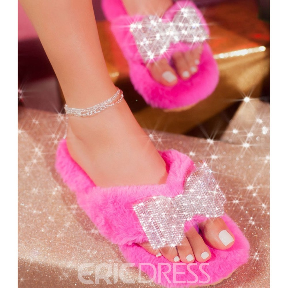 Ericdress Flat With Slip-On Bow Compound Slippers