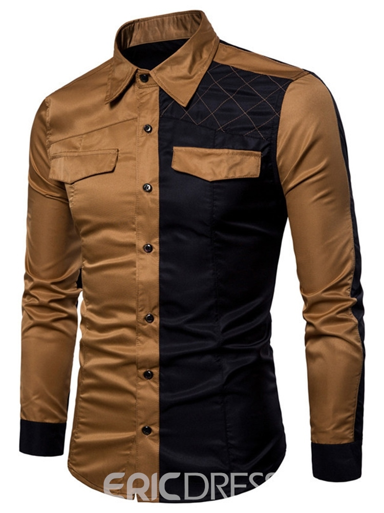 Ericdress Patchwork Casual Lapel Slim Single-Breasted Shirt