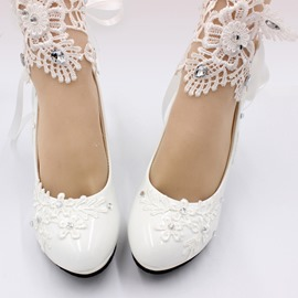 Ericdress Lace-Up Cone Heel Round Toe Plain Thin Shoes