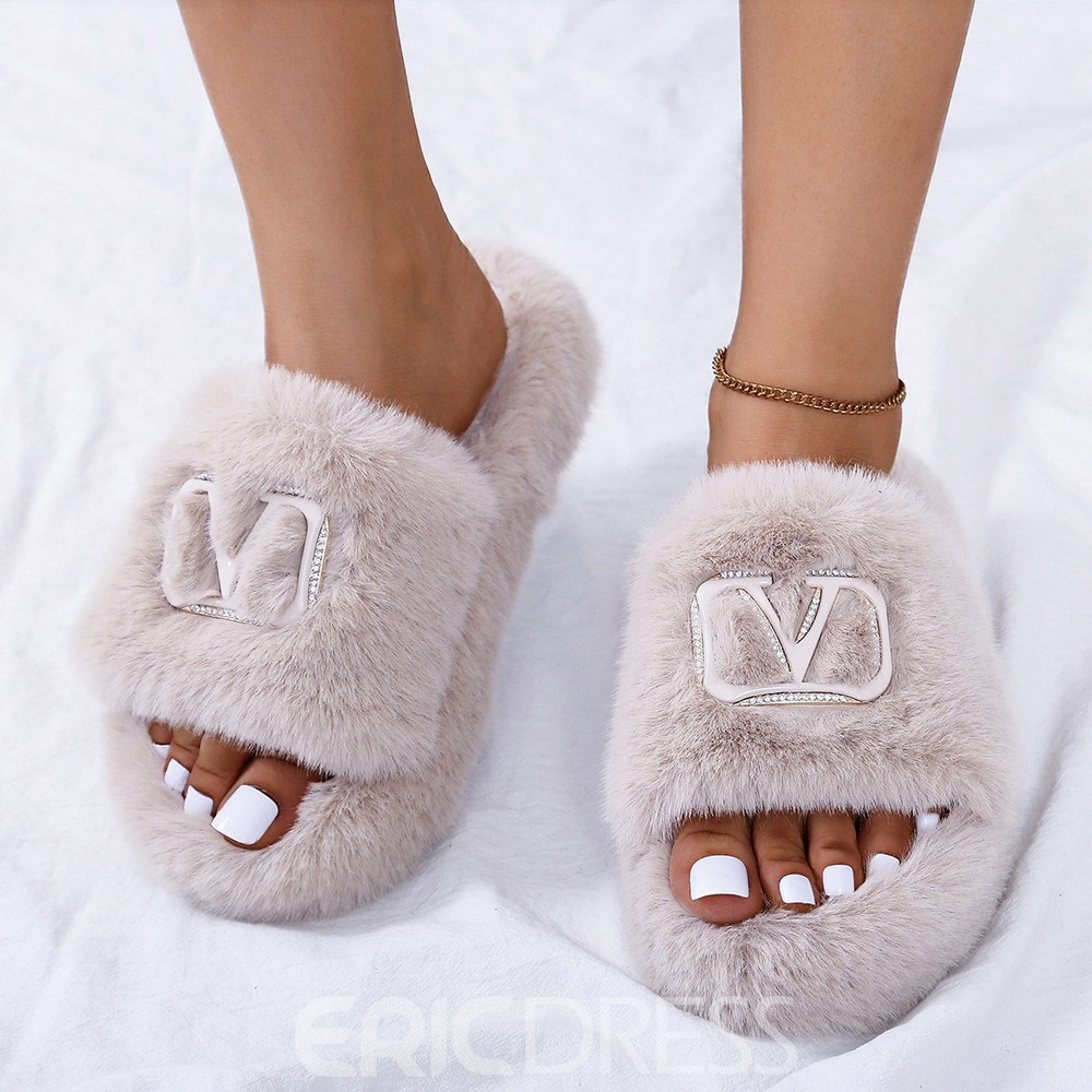 Ericdress Faux Fur Flat With Slip-On Sequin Rubber Slippers
