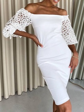 Ericdress Nine Points Sleeve Mesh Off Shoulder Bodycon Pullover Dress