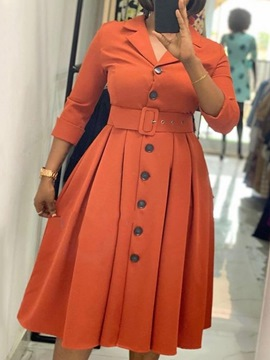 ericdress neuf points manches bouton mi-mollet mode robe d'automne