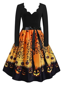 Ericdress Halloween Above Knee V-Neck Lace-Up Pullover Geometric Dress