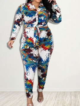 Ericdress Western Hand Painted Shirt Pencil Pants Two Piece Sets