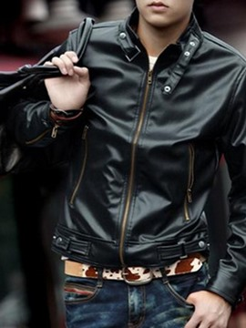 Ericdress Plain Stand Collar Standard Fashion Spring Leather Jacket