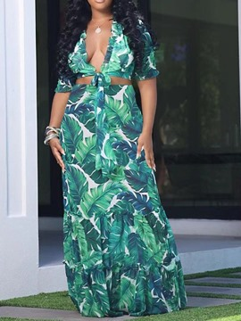 Ericdress Print Western Plant Two Piece Sets