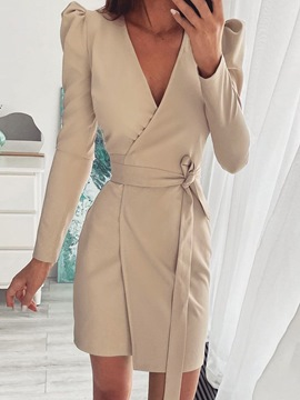 Ericdress V-Neck Above Knee Lace-Up Plain Pullover Dress