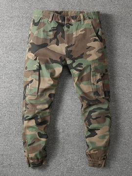Ericdress Print Camouflage Button Four Seasons Casual Pants