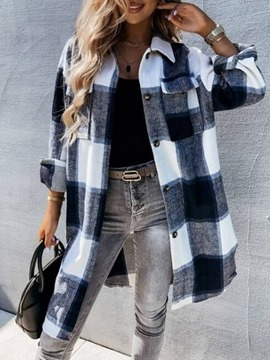 Ericdress Plaid Button Single-Breasted Loose Long Lapel Overcoat