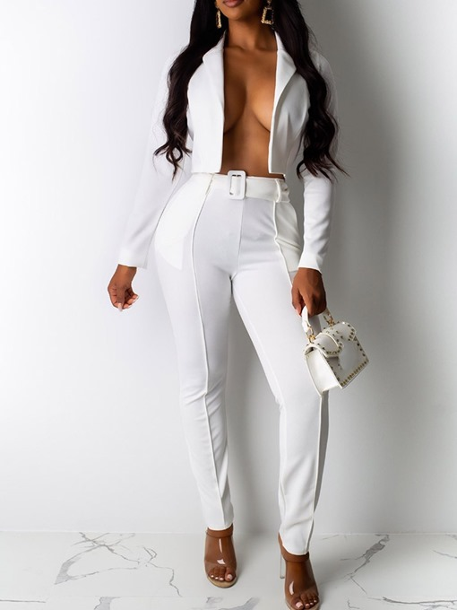 Ericdress Jacket Formal Plain Pencil Pants Wrapped Two Piece Sets