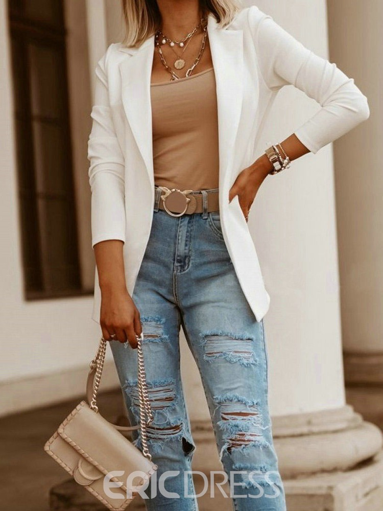 Ericdress Wrapped Plain Nine Points Sleeve Spring Mid-Length Casual Blazer