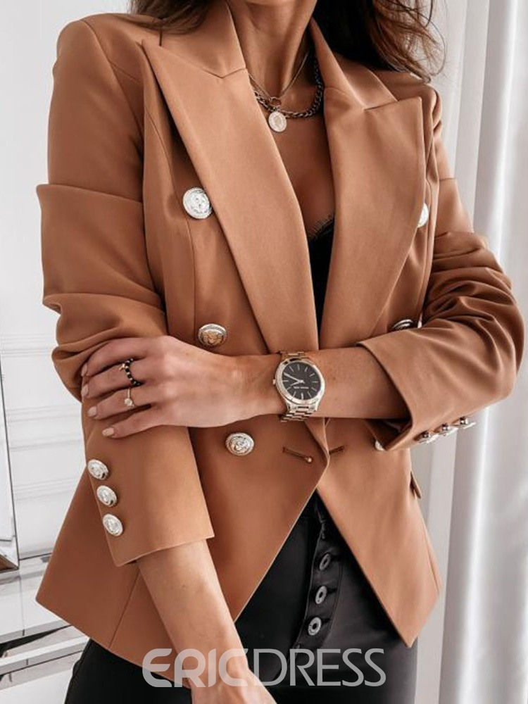 Ericdress Notched Lapel Double-Breasted Long Sleeve Standard Fall Casual Blazer