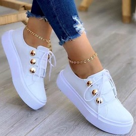 Ericdress Sequin Lace-Up Closed Toe PU Sneakers