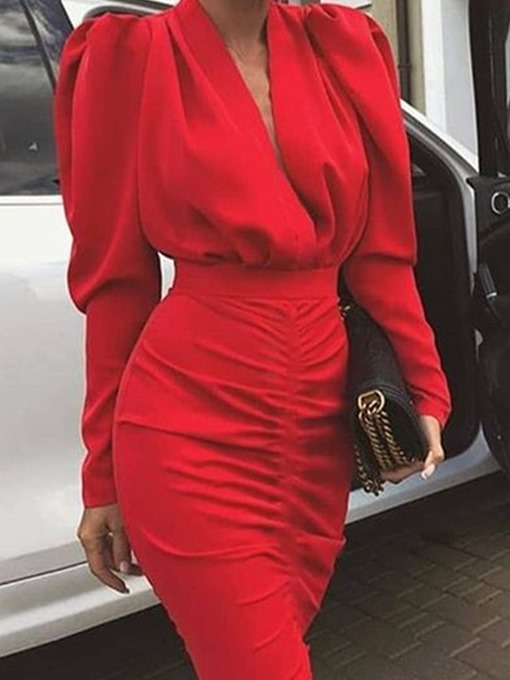 Ericdress Above Knee Long Sleeve Pleated Pullover Plain Dress