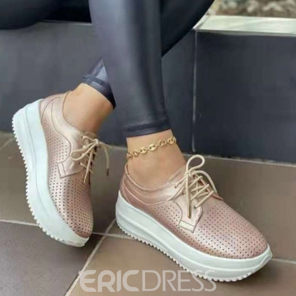 Ericdress Lace-Up Round Toe Lace-Up Plain Sneakers
