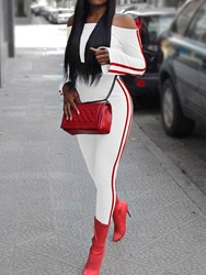 Ericdress Pants Color Block Sexy Pullover Off Shoulder Two Piece Sets