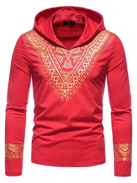 Ericdress Hooded Print Casual Slim Pullover T-shirt