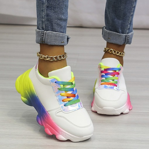 Ericdress Lace-Up Round Toe Lace-Up Color Block Sneakers