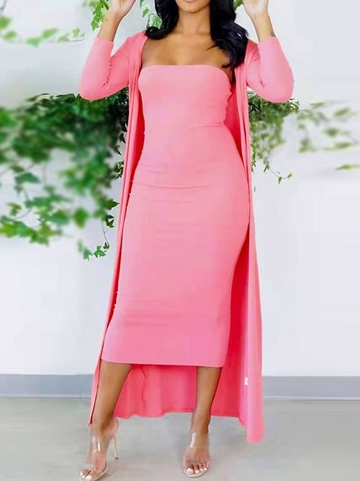 Ericdress Coat Plain Western Wrapped Bodycon Two Piece Sets