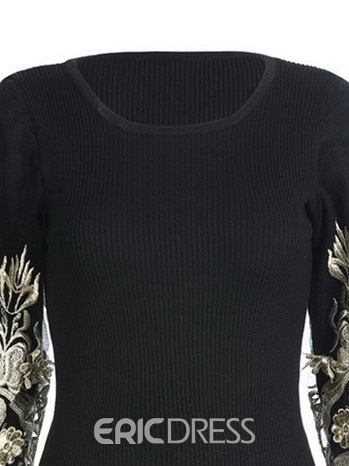 Ericdress Patchwork Round Neck Long Sleeve Knitsweater
