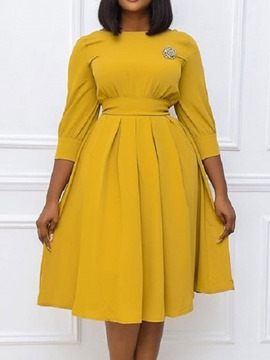 ericdress col rond manches trois-quarts mi-mollet mode pull robe