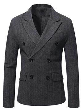 Ericdress Double-Breasted Notched Lapel Stripe Blazer