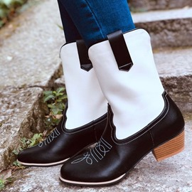 Ericdress Vintage Slip-On Chunky Heel Color Block Professional Boots