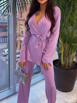 Ericdress Sweet Plain Lace-Up Lace-Up V-Neck Two Piece Sets
