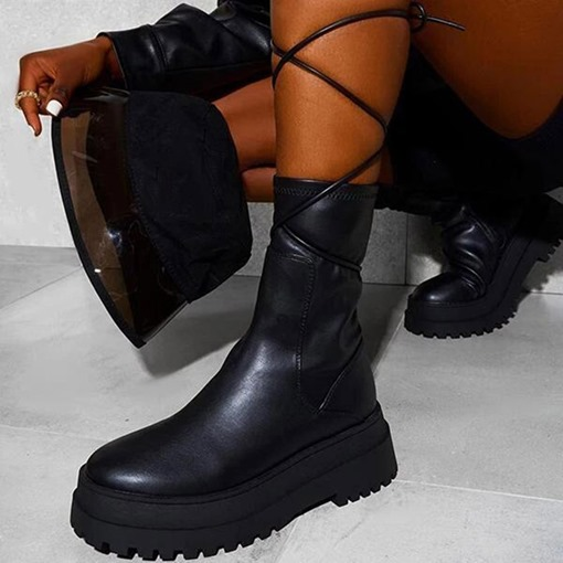 Ericdress Plain Round Toe Side Zipper Western Strappy Boots