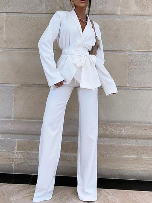 Ericdress Lace-Up Pants Fashion Long Sleeve Full Length Suit