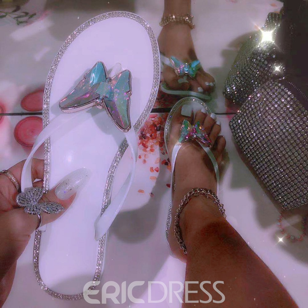Ericdress Flat With Sequin Slip-On PVC Slippers