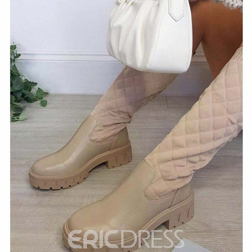 Ericdress Patchwork Slip-On Round Toe Western Boots