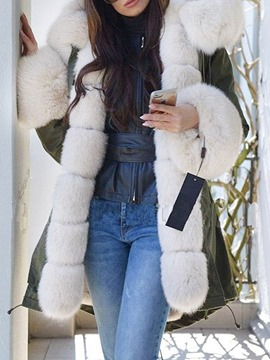 Ericdress Thick Patchwork Straight Mid-Length Cotton Padded Jacket