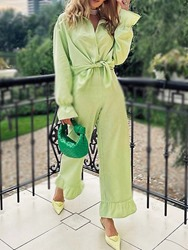 Ericdress Button Sweet Pants Single-Breasted Lapel Two Piece Sets