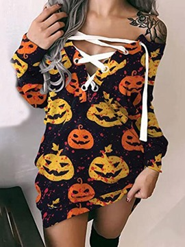 Ericdress Halloween Above Knee Lace-Up Long Sleeve Pullover Western Dress