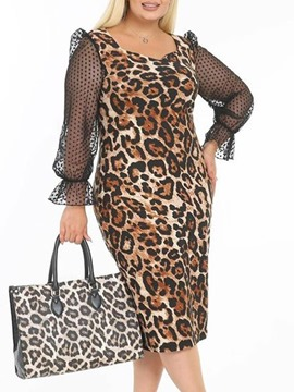 Ericdress Plus Size Mid-Calf Long Sleeve Patchwork Fashion Pullover Dress