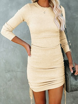Ericdress Lace-Up Above Knee Round Neck Fashion Spring Dress